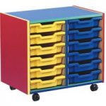 Multi Coloured Storage Unit With 12 Shallow Trays