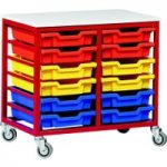 Metal Tray Storage Unit With 12 Trays