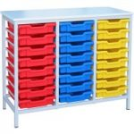 Metal Tray Storage Unit With 24 Trays