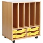 Allsorts Bookholder Unit With 4 Shallow Trays